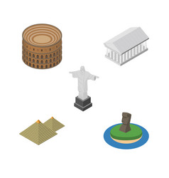 Isometric cities set of coliseum rio chile and vector
