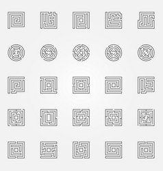 maze outline icons set vector image vector image
