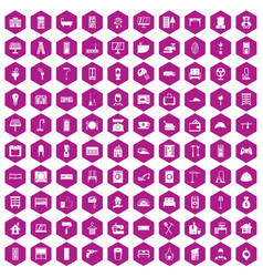 100 comfortable house icons hexagon violet vector image vector image