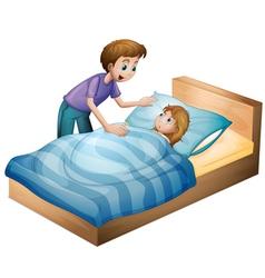 a boy and sleeping girl vector image