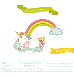 Baby Shower or Arrival Card - Baby Unicorn Girl vector image