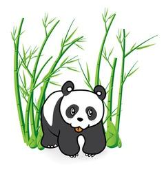 Cute panda bear in bamboo forrest 04 vector