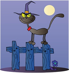 Halloween Witch Cat On A Fence vector image vector image