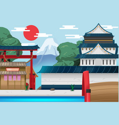 Japan travel old city background vector