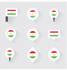 tajikistan flag and pins for infographic and map vector image