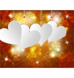 White heart on a celebratory background postcard vector