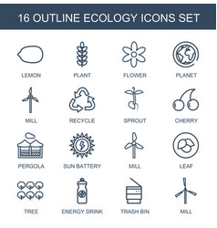 16 ecology icons vector