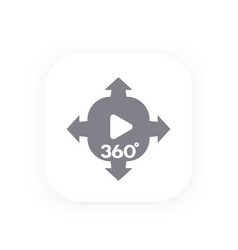 360 degrees panoramic video content icon vector