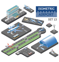 3d isometric airport and city map constructor vector