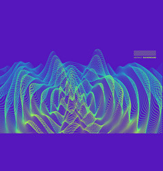 3d wavy background with ripple effect grid surface vector image