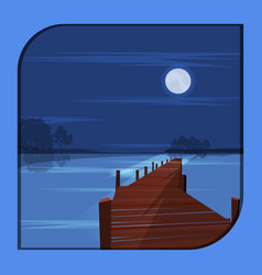 A night scene at a pier in a frame vector