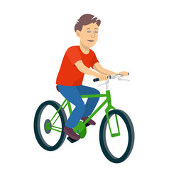a young boy riding a bicycle on a vector image