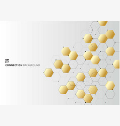 abstract gold hexagons with nodes digital vector image