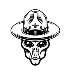 Alien head in boy scout hat vector