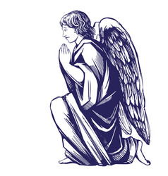 Angel prays on his knees religious symbol of vector