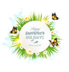 appy summer holidays banner with grass and vector image
