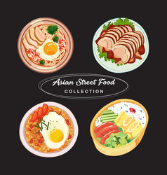 Asian street food collection vector