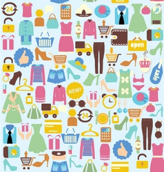 background with shopping icons vector image