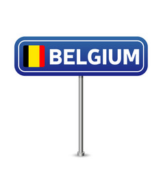 belgium road sign national flag with country name vector image
