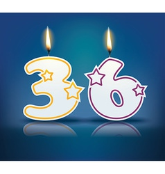 Birthday candle number 36 vector
