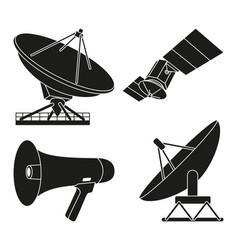 Black white telecommunication silhouette elements vector