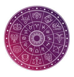 Bright and white astrology horoscope circle vector