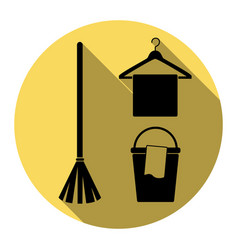broom bucket and hanger sign flat black vector image