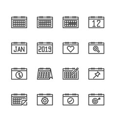 calendar related icon set vector image