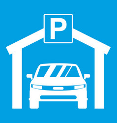 car parking icon white vector image