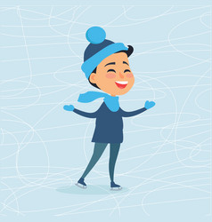 cartoon smiling male person on icerink in winter vector image