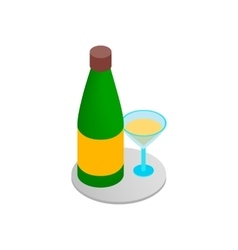 Champagne and glass 3d isometric icon vector image