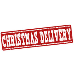 christmas delivery stamp vector image