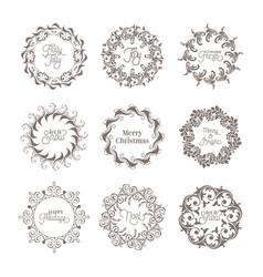christmas vintage wreath winter calligraphic vector image