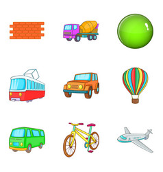 city transport icon set cartoon style vector image