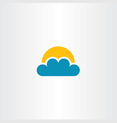 Cloud and sun icon clip art vector