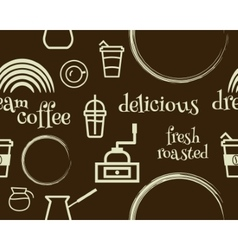 Coffee seamless pattern with stains line coffee vector