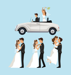 Color background with scenes of newly married vector