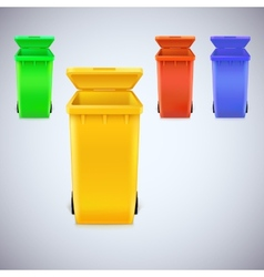 Colored waste bins with the lid open vector image