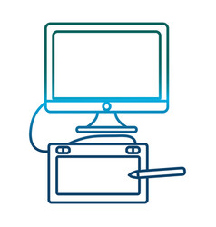 Computer and graphic tablet icon vector