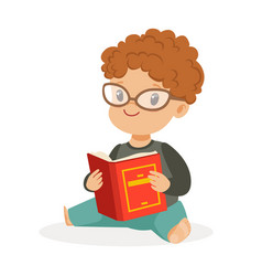 cute little boy wearing glasses sitting on the vector image
