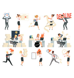 Deadline characters business overworked people vector