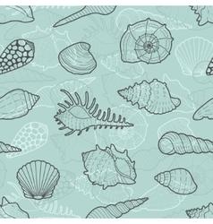 Decorative seamless pattern of sea shells vector