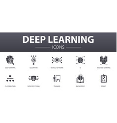 Deep learning simple concept icons set contains vector