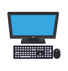 Desk computer isolated vector