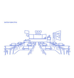 empty school class room interior board desk sketch vector image