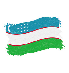 flag of uzbekistan grunge abstract brush stroke vector image