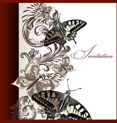 Floral invitation card with butterflies vector