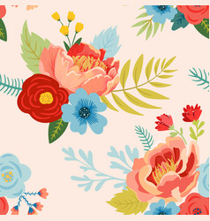 Floral seamless pattern with flowers buds leaves vector