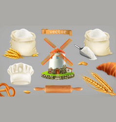Flour mill wheat bread chef hat 3d icon set vector