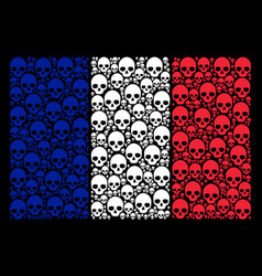 France flag mosaic of skull icons vector